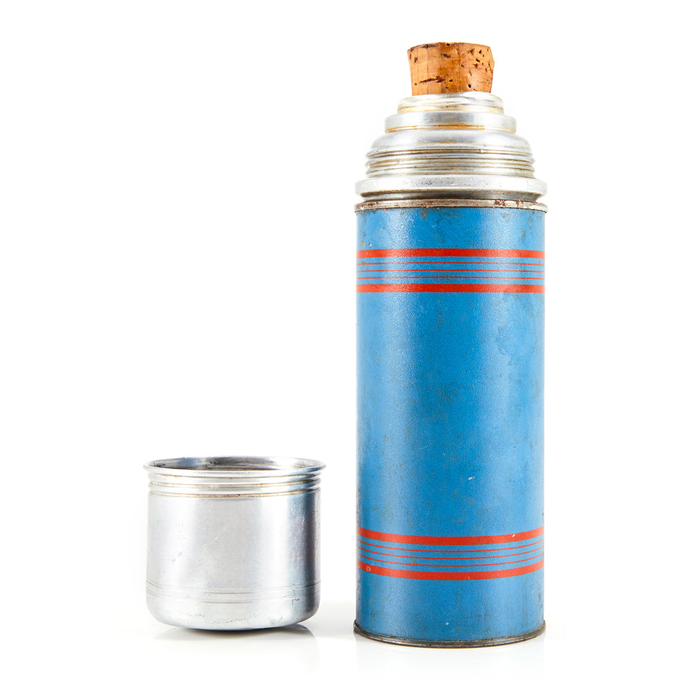 Blue and Chrome Thermos