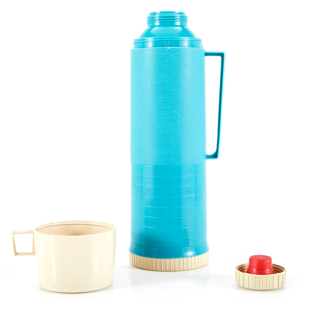 Aqua Blue Metal Thermos