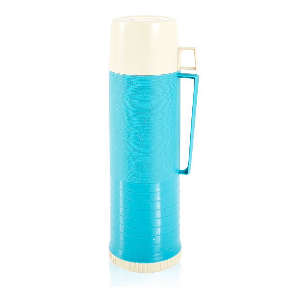 Aqua Blue and White Thermos