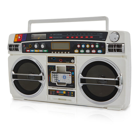 White AM/FM Digital Boombox