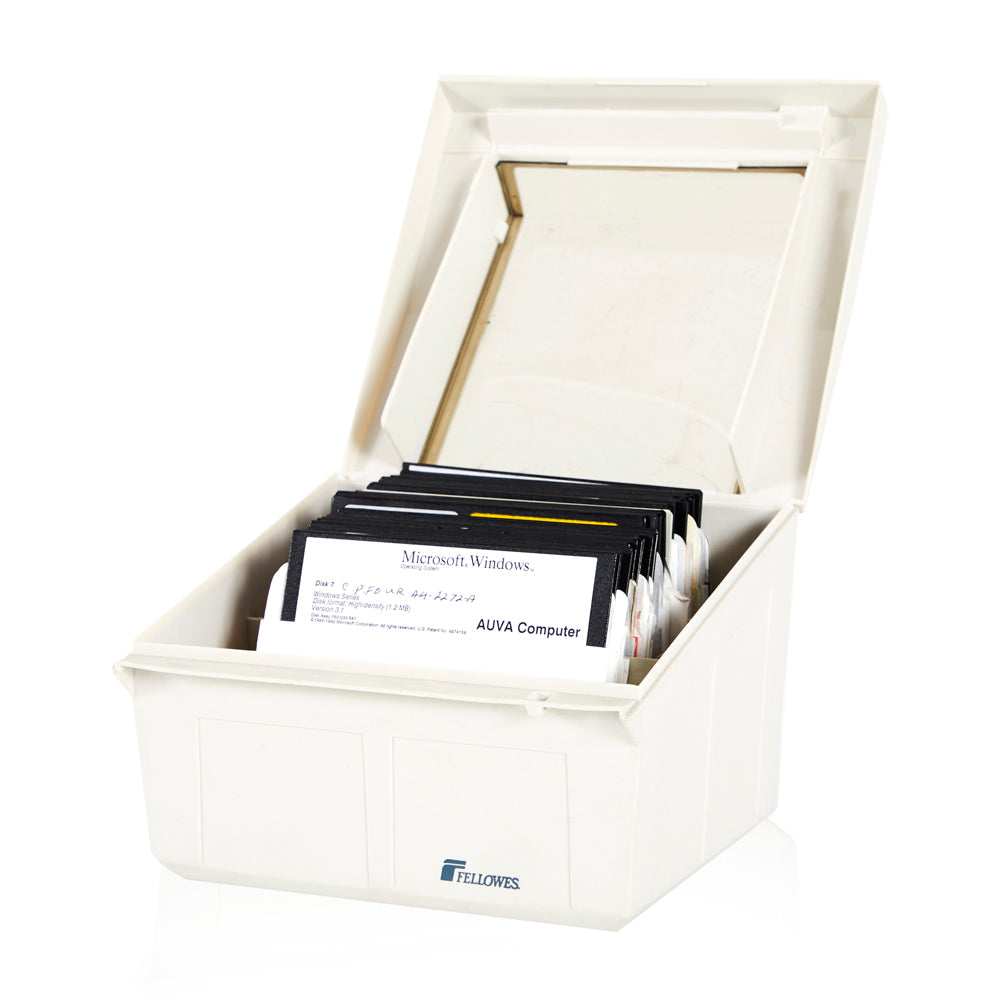 "White Storage Box with 5"" Floppy Disks"