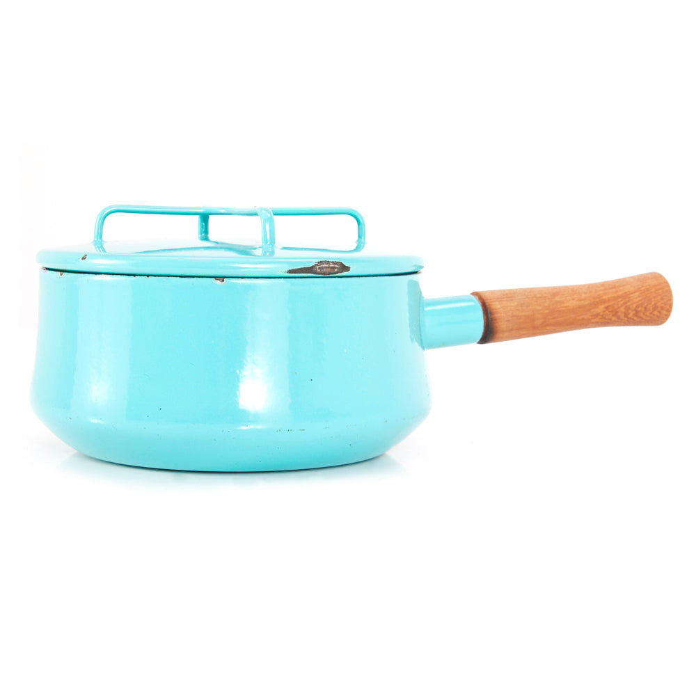 Aqua Mid Century Metal Sauce Pan with Lid
