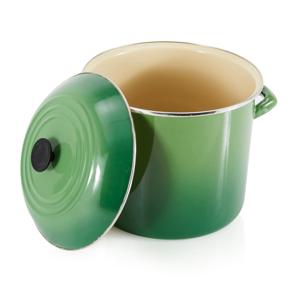 Green Enamel Stock Pot with Lid