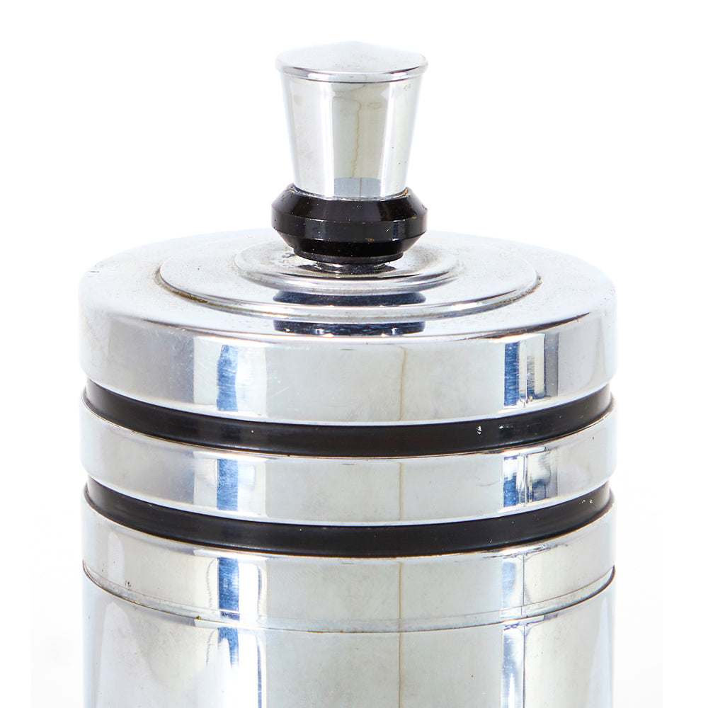 Chrome Deco Cylinder Cocktail Shaker