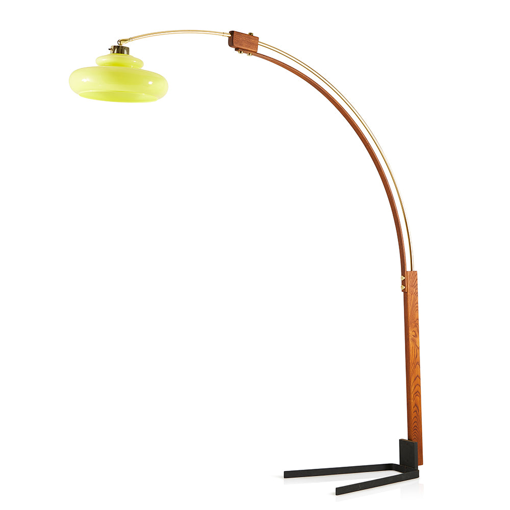 Mid-Century Curved Metal Floor Lamp