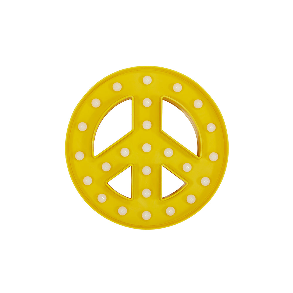 Small Yellow Peace Symbol Wall Light