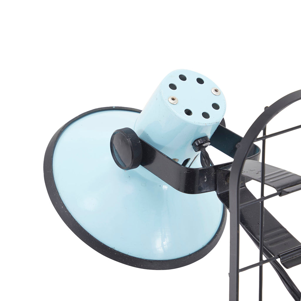 Baby Blue Metal Grid Desk Lamp