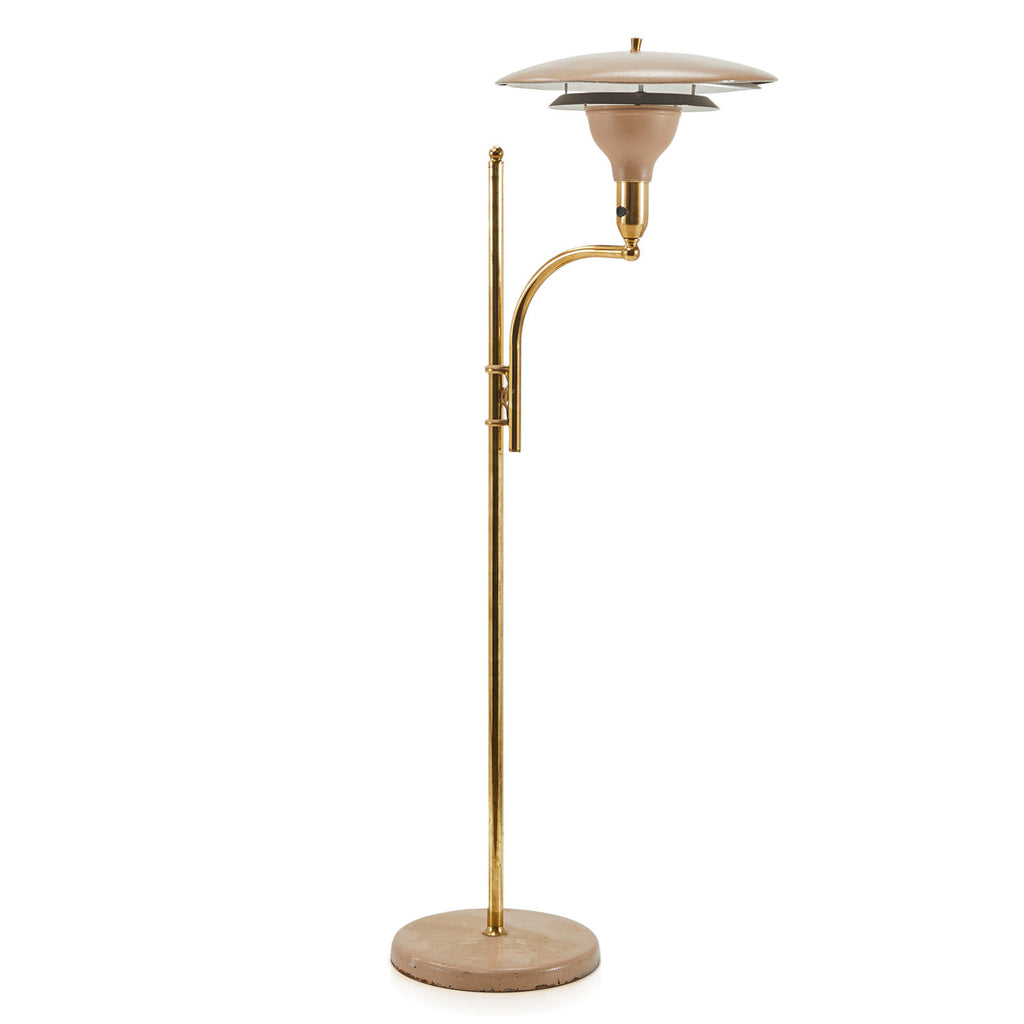 Brown Brass Mid Century Standing Lamp