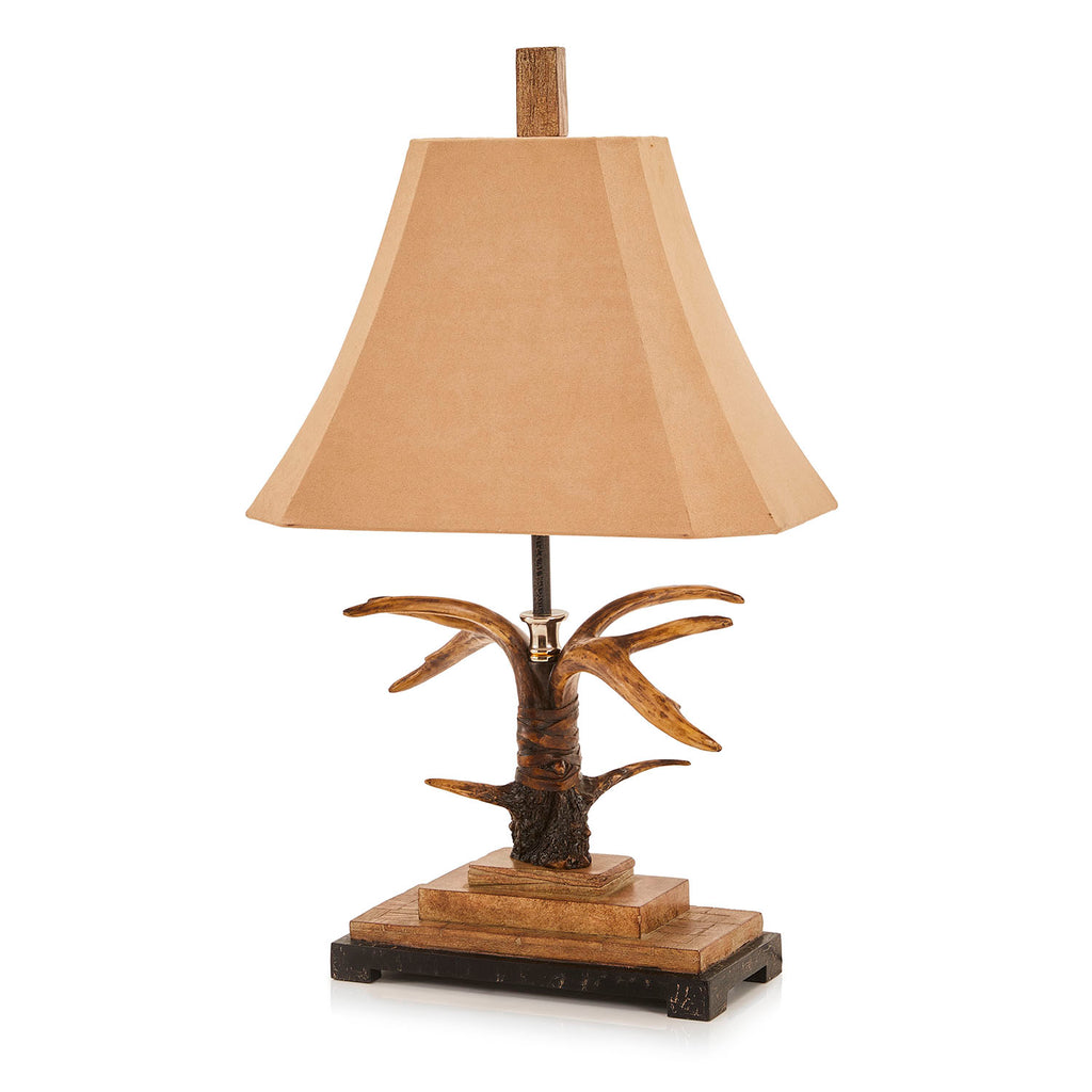 Carved Wood Antler Table Lamp