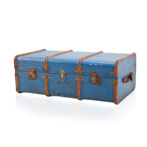 Blue and Brown Vintage Trunk