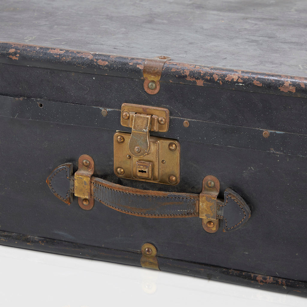 Matte Black Metal Antique Trunk