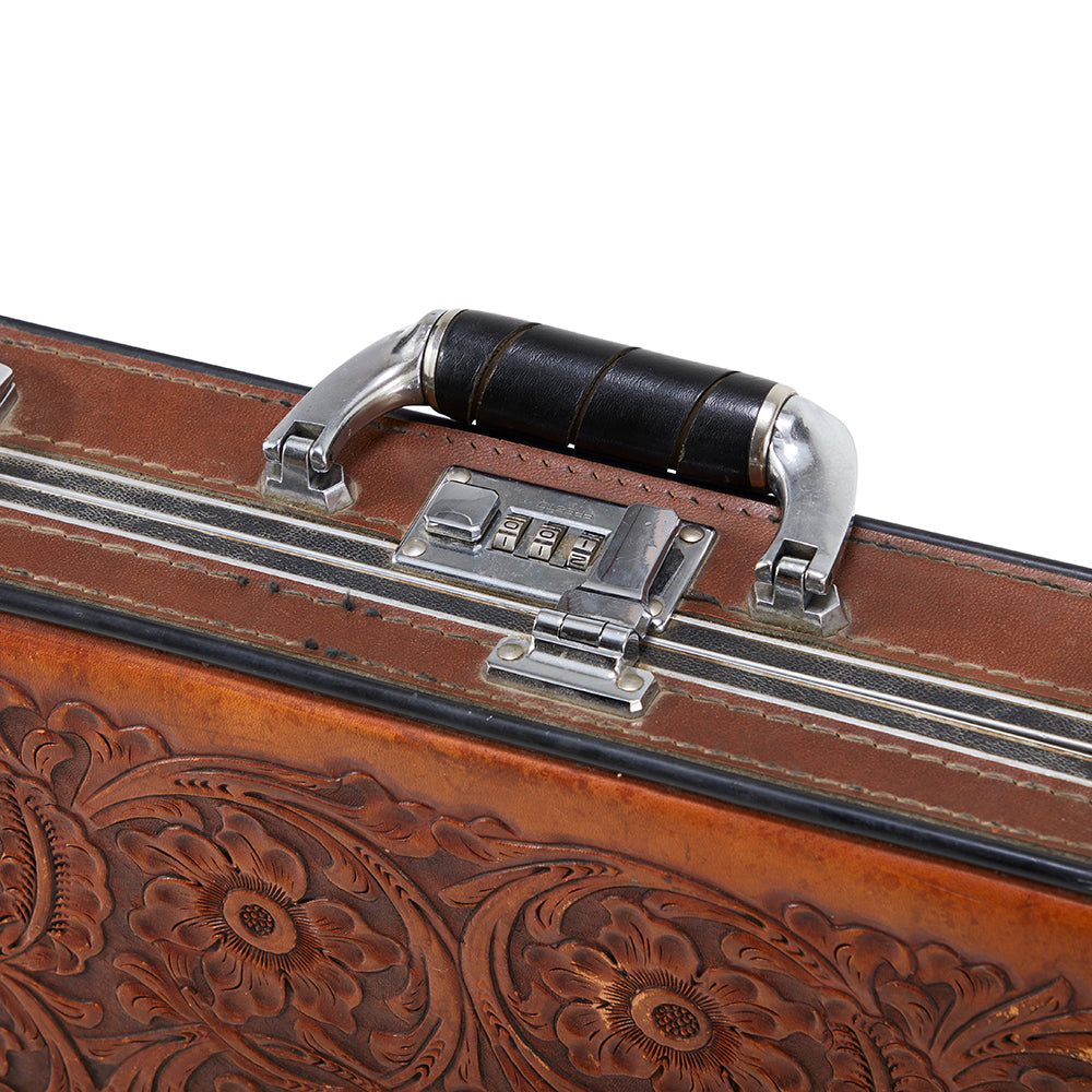 Brown Leather Engraved Suitcase