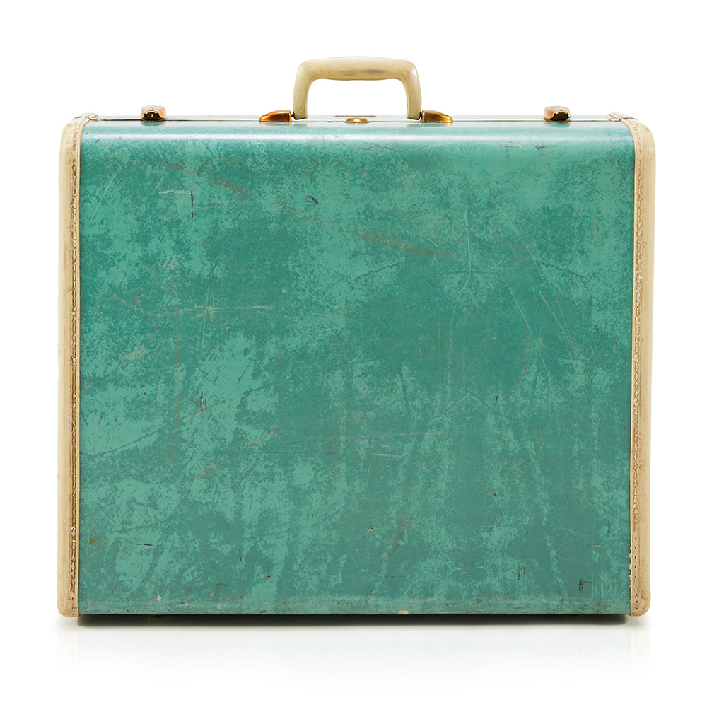 Medium-Small Vintage Turquoise Suitcase