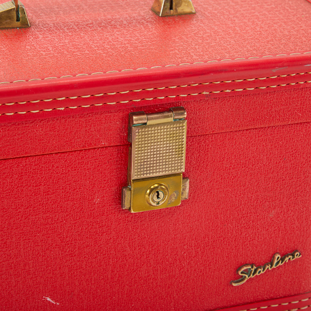 Mid Century Red Starline Small Makeup Suitcase