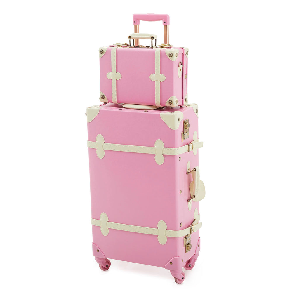 Large Pink Leather Suitcase