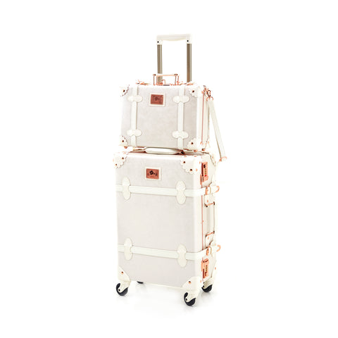 White and Pink Travel Luggage