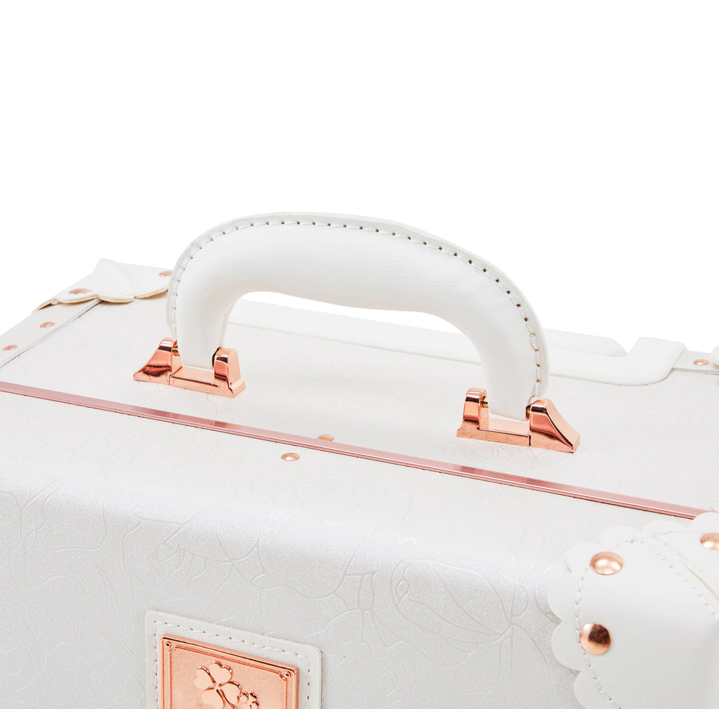 White and Rose Gold Modern Luggage Set