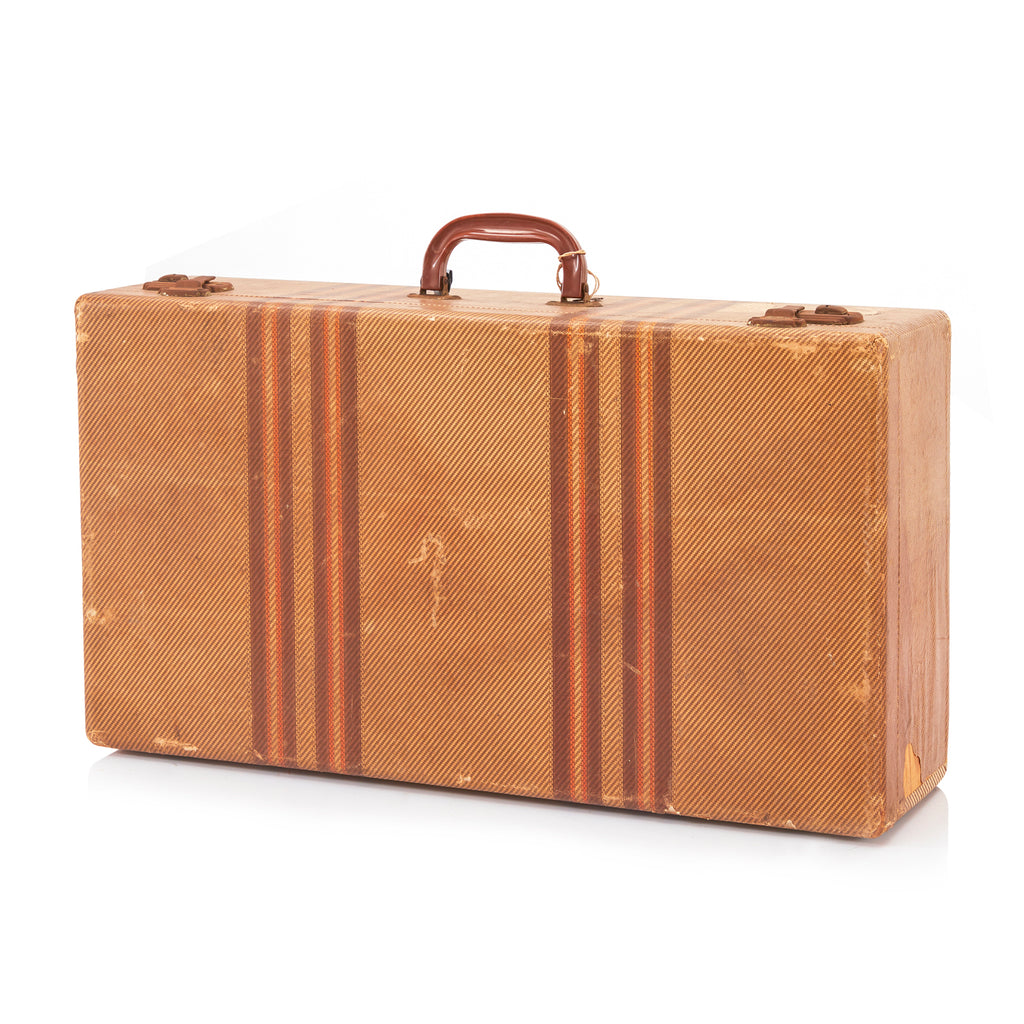 Tan Hardshell Suitcase with Brown-Red Stripes