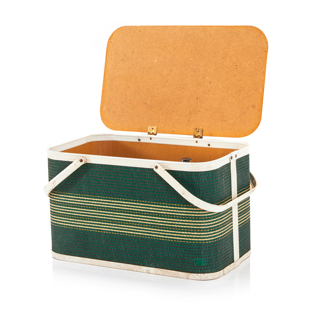 Vintage Green and Yellow Striped Picnic Basket