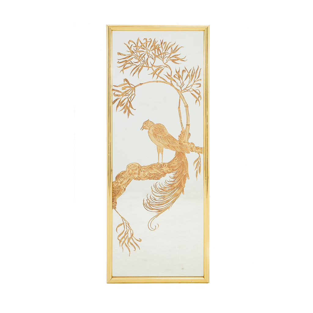 Gold Etched Cranes Mirror