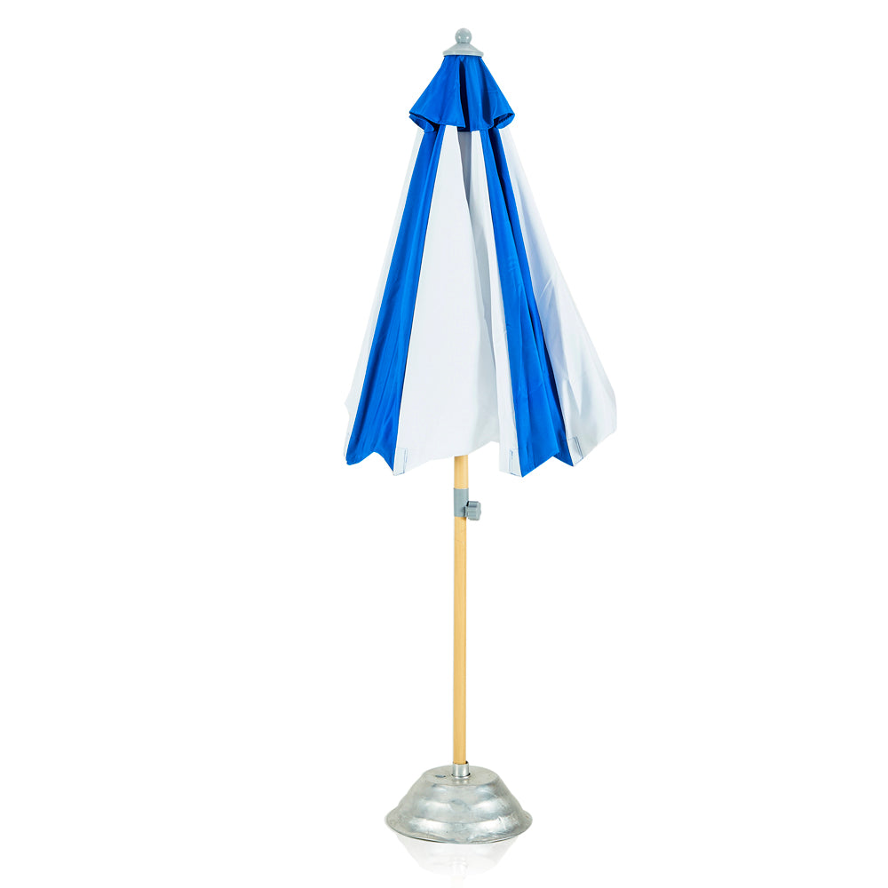 Blue and White Panel Patio Umbrella with Base