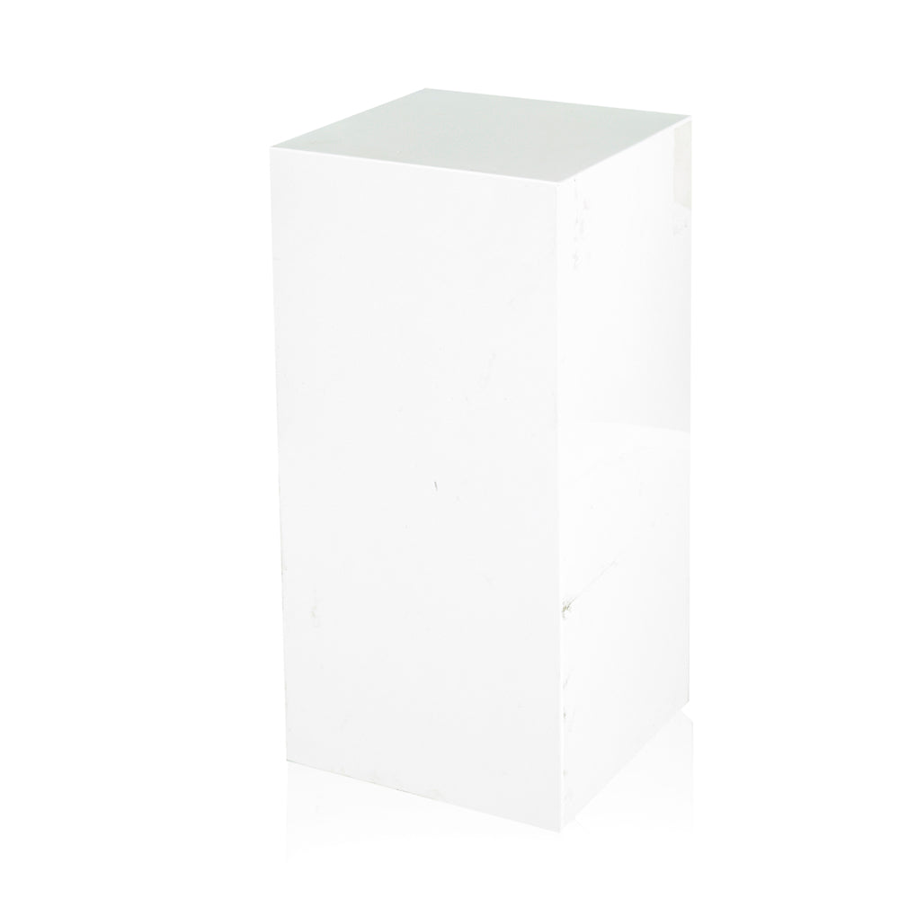 Short Glossy White Rectangle Pedestal