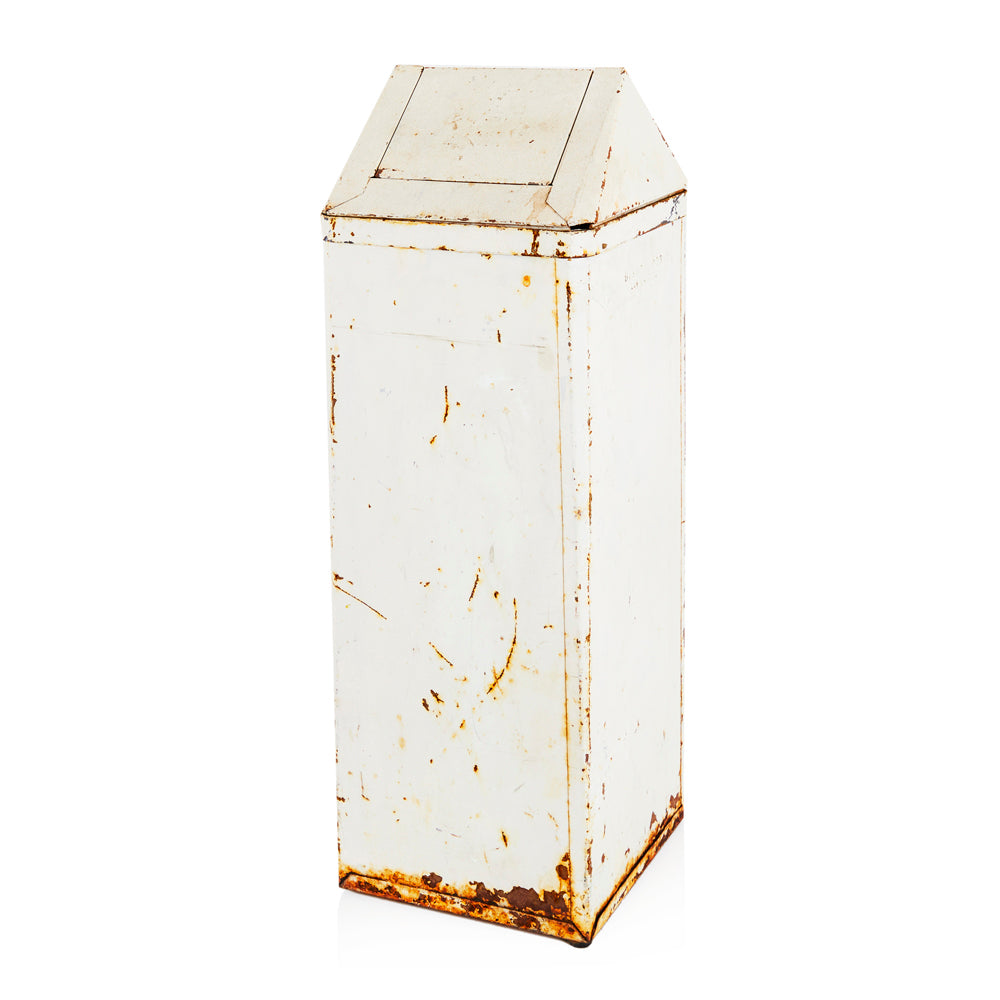 White Rusted Metal Garbage Can
