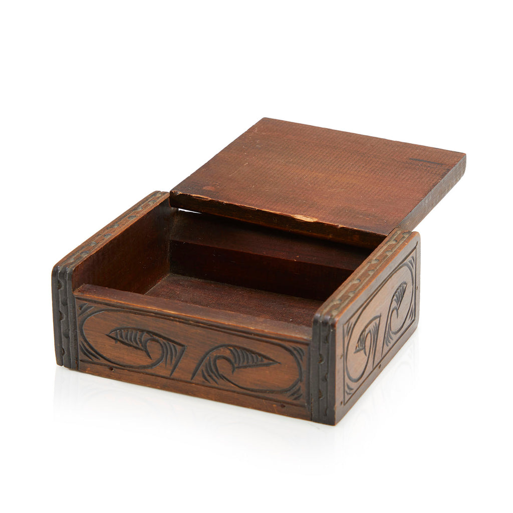 Carved Wood Face Jewelry Box