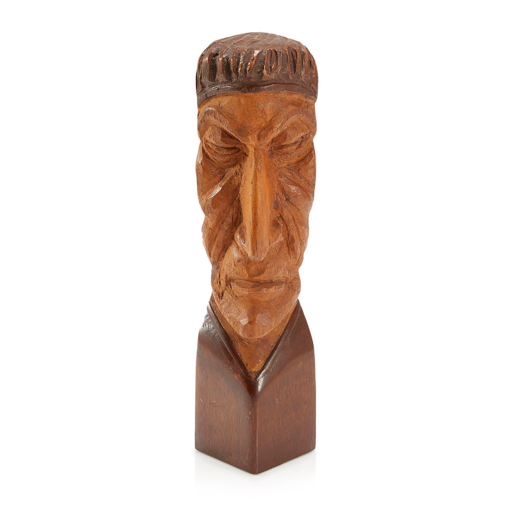 Long Carved Wood Face Sculpture