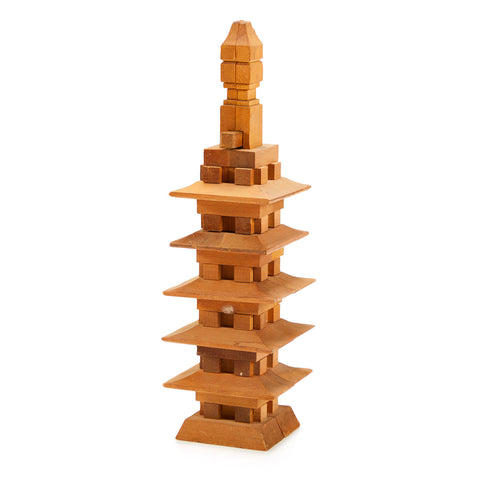 Japanese Wood Pagoda Sculpture