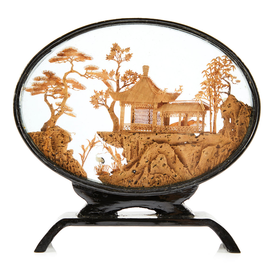 Resin Encased Japanese Landscape Scene - Oval