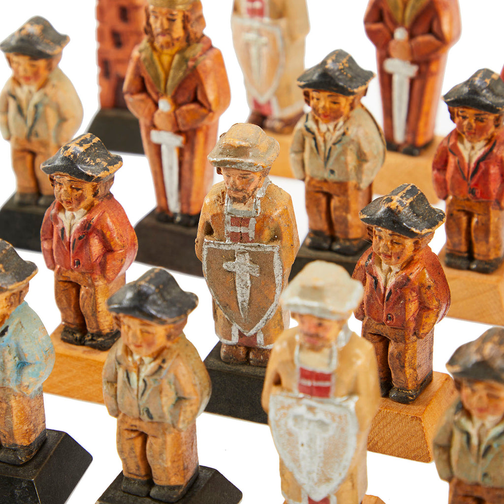 Vintage Wood Carved People Chess Set