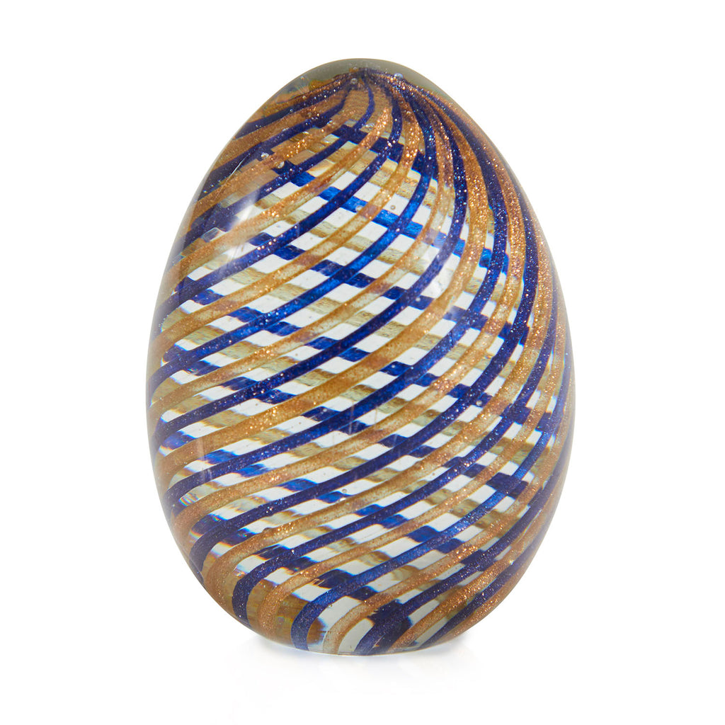 Striped Glass Egg Paperweight