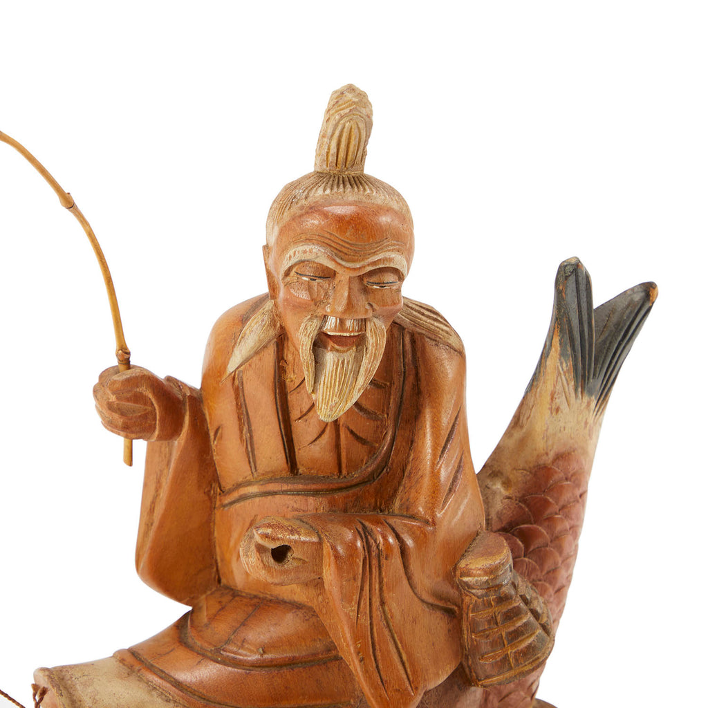 Asian Wood Figurine Man On Fish
