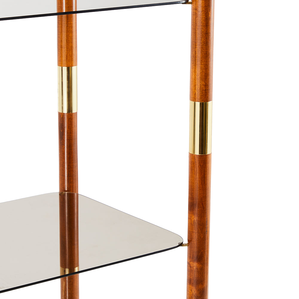 Wood Glass Brass Etagere Book Shelf