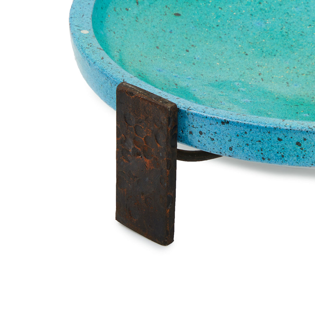 Wide Turquoise Ceramic Dish and Stand