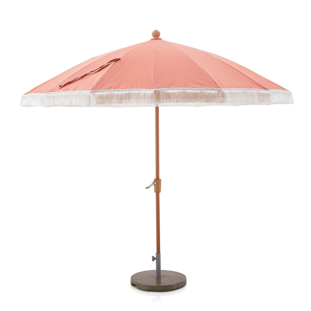 Outdoor Salmon + White Fringe Patio Umbrella with Base