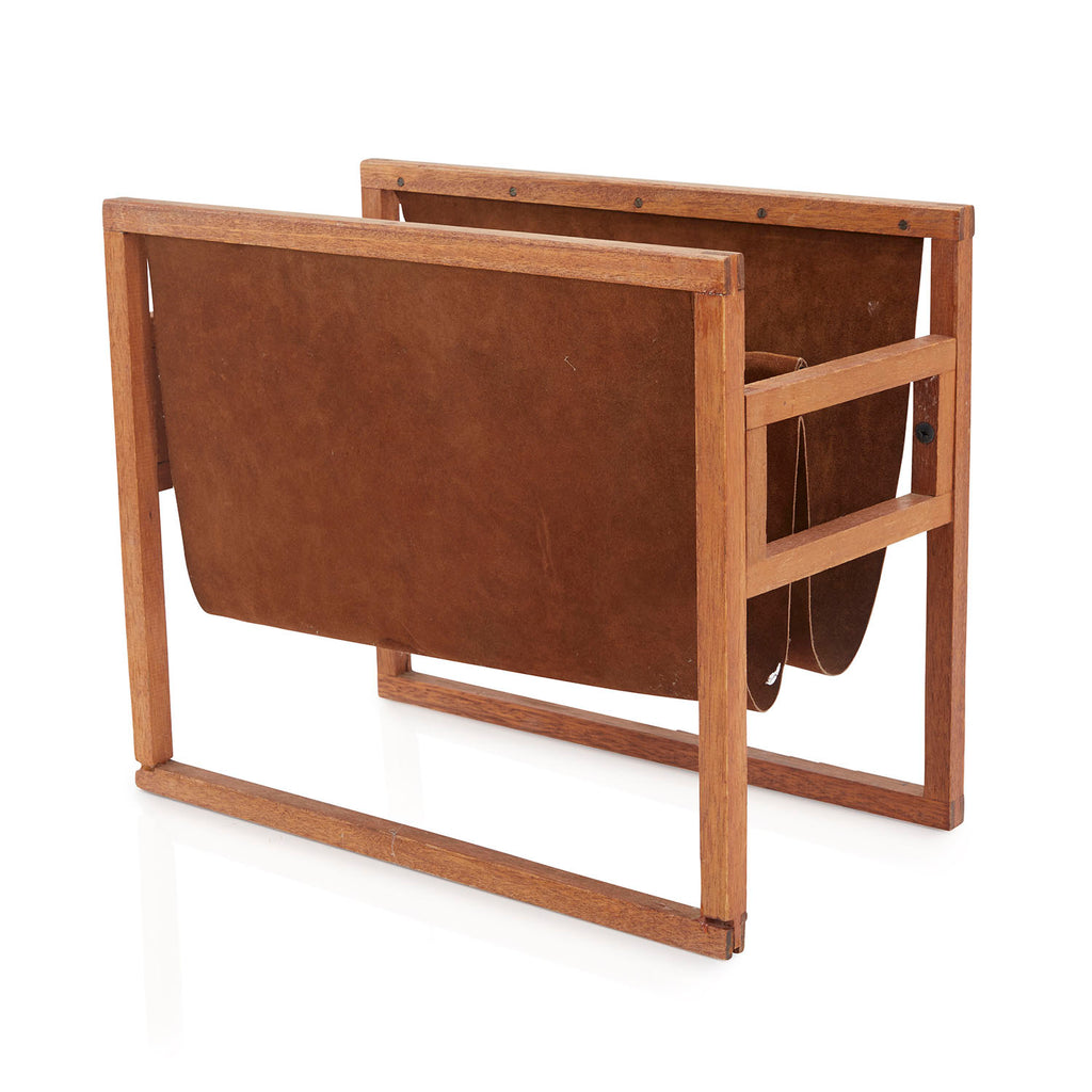 Brown Double Leather Sling Magazine Rack