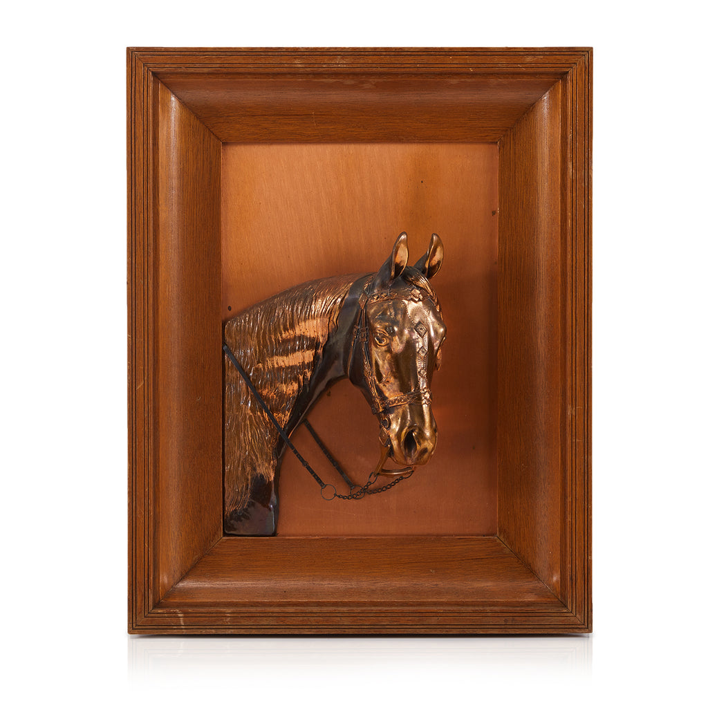 Copper Horse Bust Framed Wall Art