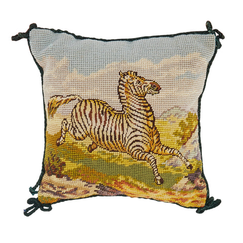 Prancing Zebra Needlepoint Pillow