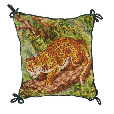 Stalking Leopard Needlepoint Pillow