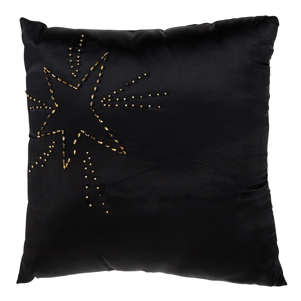 Black Beaded Star Pillow