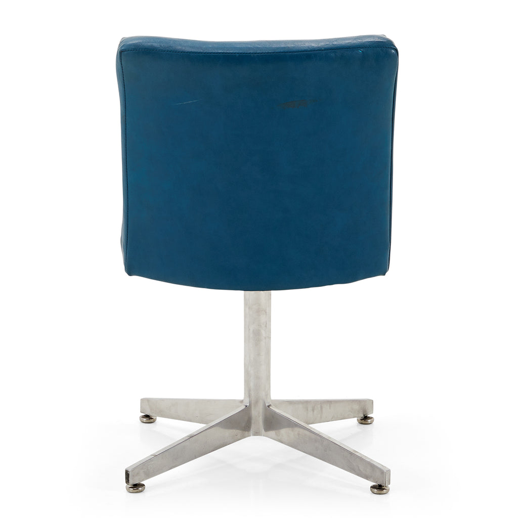 Blue Vinyl Steel-Based Chair - Thick Seat