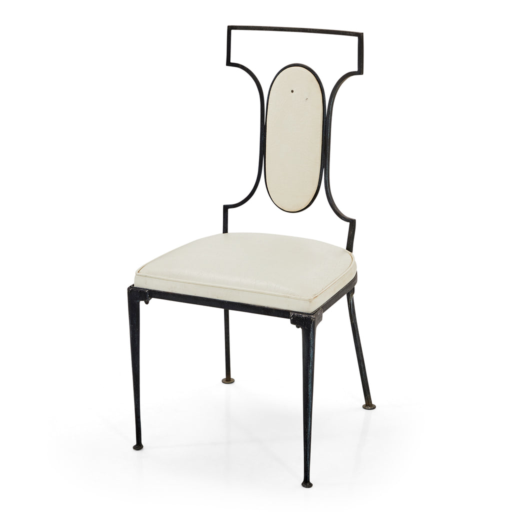 White and Black Metal Cutout Back Dining Chair