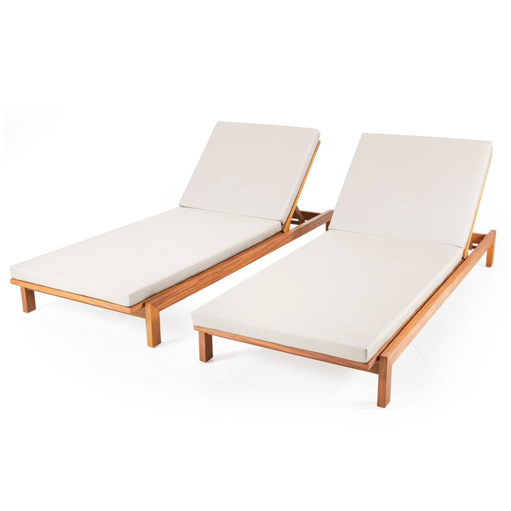 Modern Wood and White Cushion Outdoor Chaise Lounger