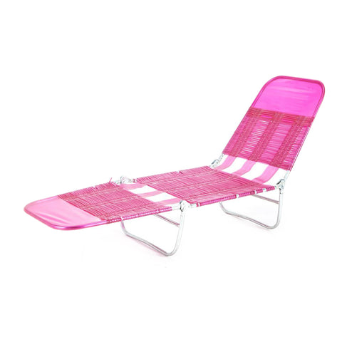 Clear Plastic Strapped Outdoor Chaise