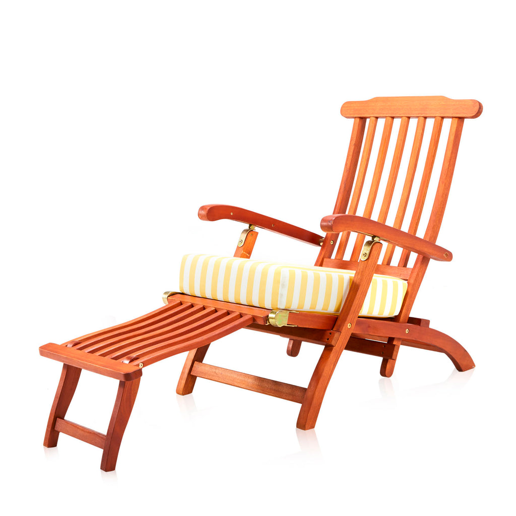 Wooden Outdoor Lounge Chair - Yellow