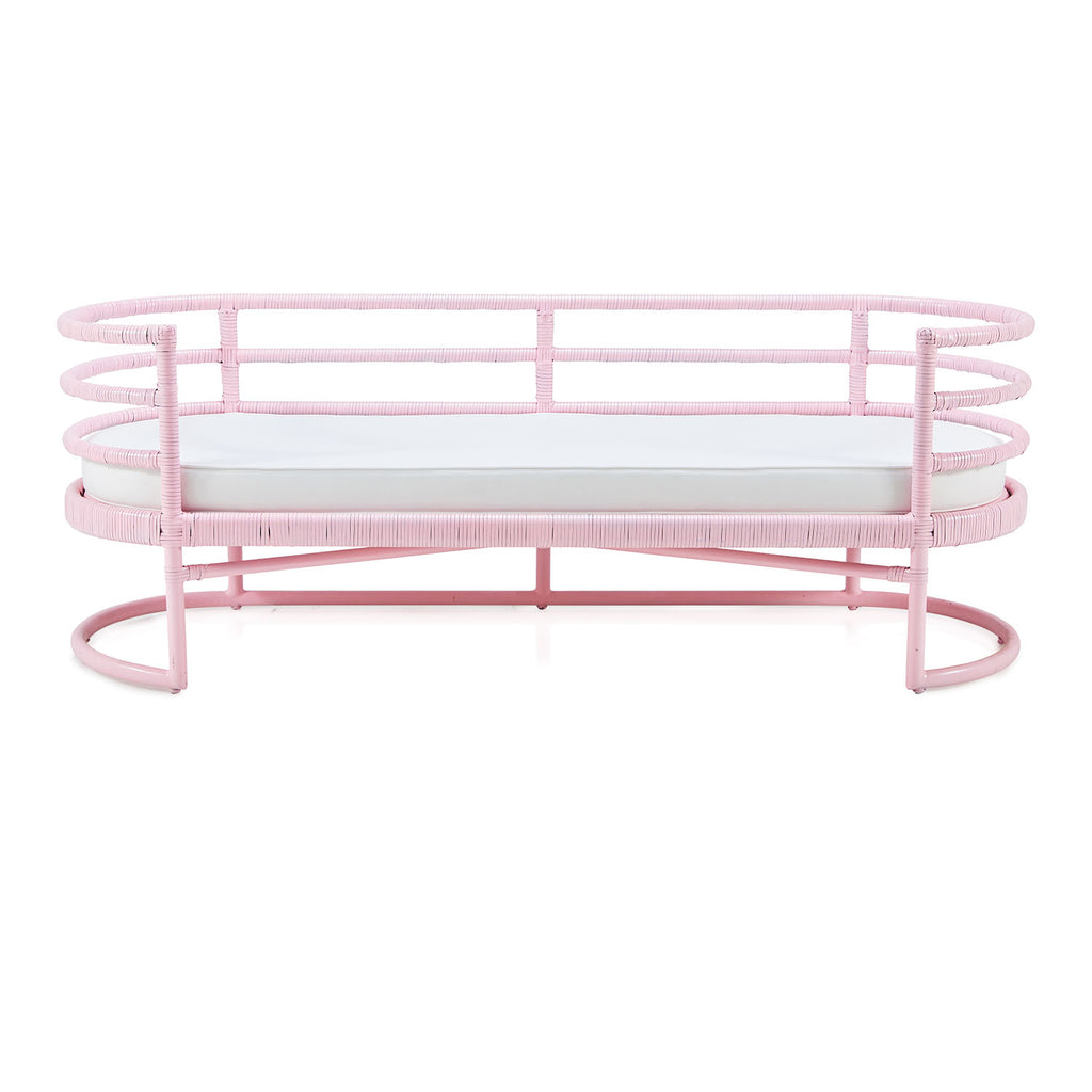 Pink Wicker Wrapped Bench
