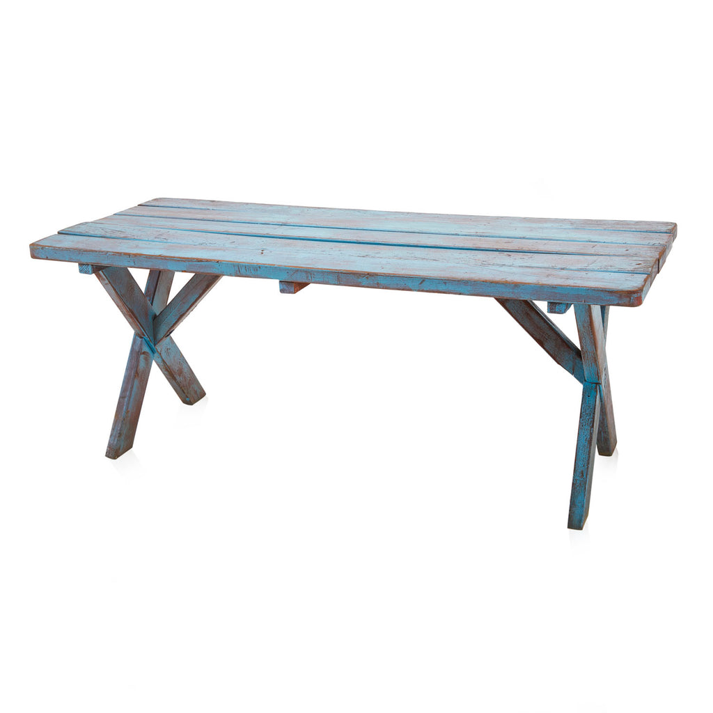Vintage Blue Wooden Picnic Table