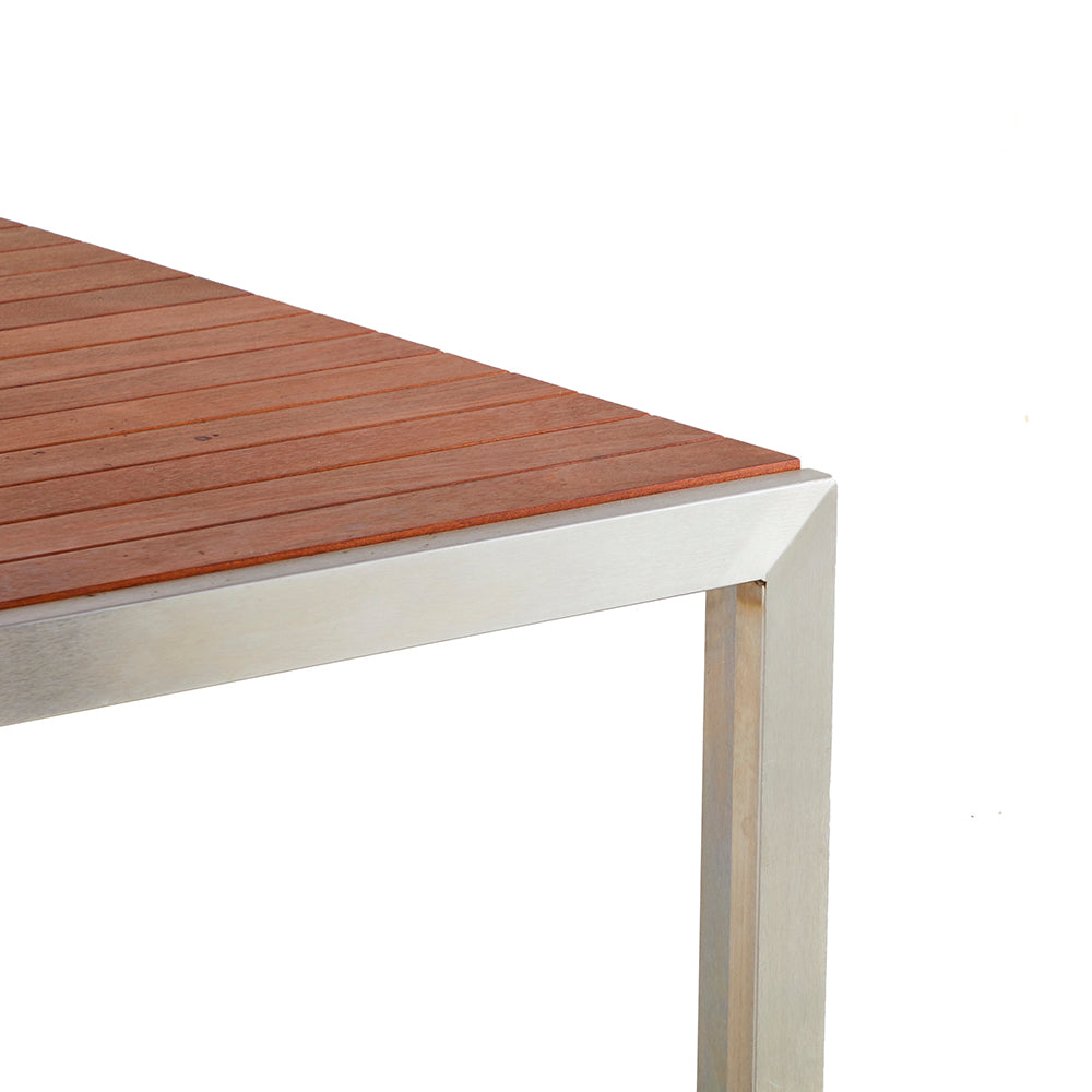 Modernica Stainless + Teak Outdoor Dining Table